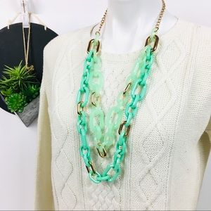 Oversized Turquoise Gold Chain Statement Necklace